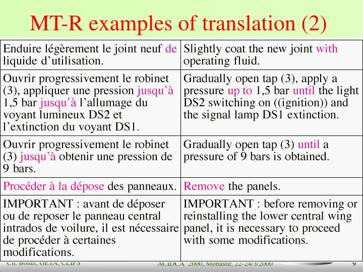 MT-R examples of translation (2)