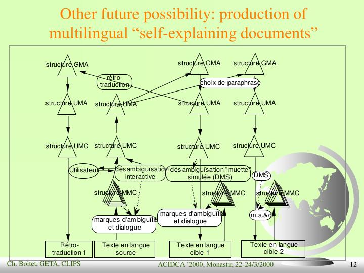 "Other future possibility: production of multilingual ""self-explaining documents"""