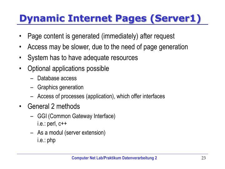 Dynamic Internet Pages (Server1)