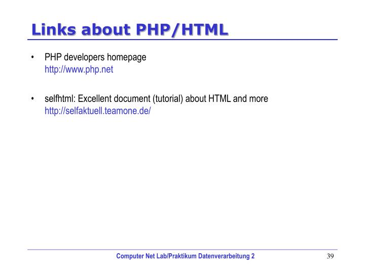 Links about PHP/HTML