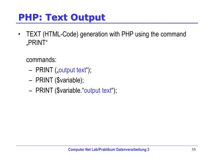 PHP: Text Output