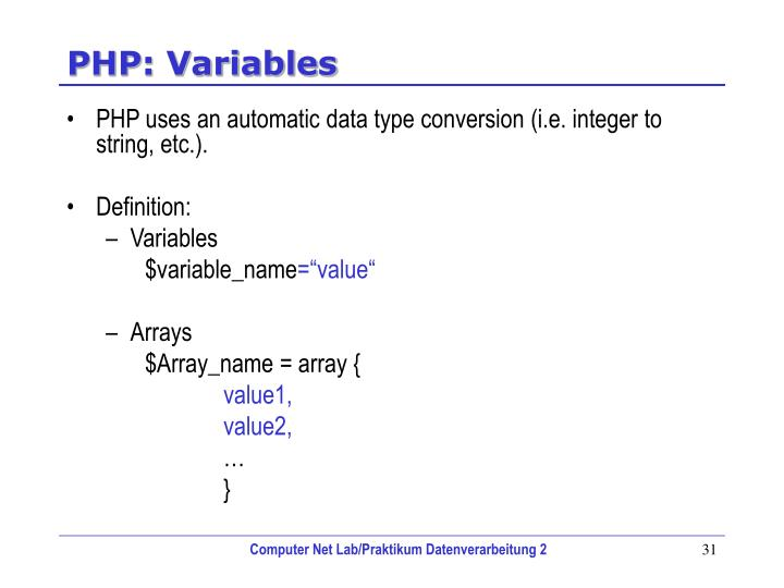 PHP: Variables