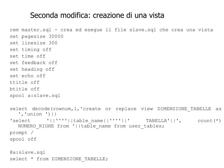 Seconda modifica: creazione di una vista