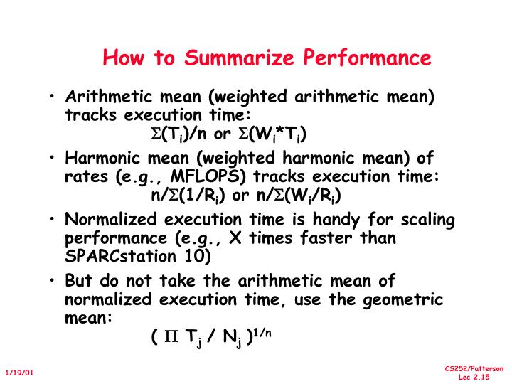 How to Summarize Performance