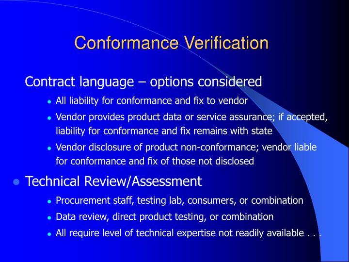 Conformance Verification