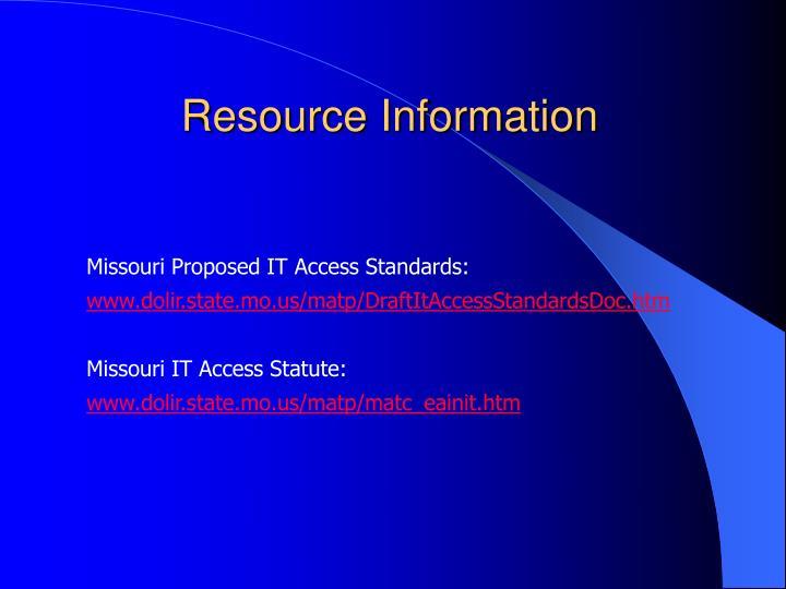 Resource Information