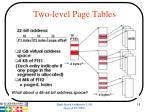two level page tables