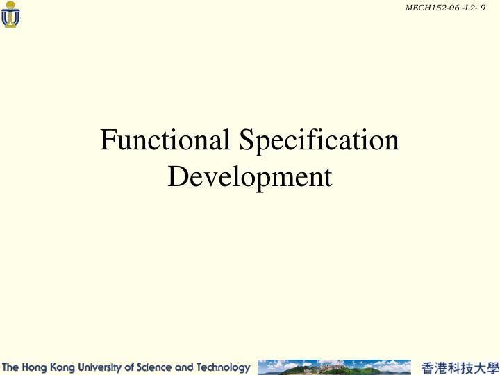 Functional Specification Development