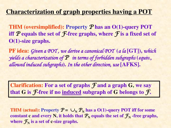 Characterization of graph properties having a POT