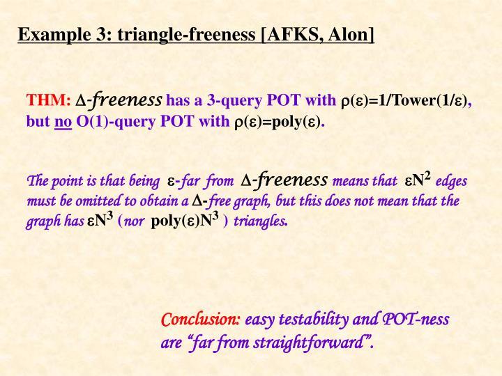 Example 3: triangle-freeness [AFKS, Alon]