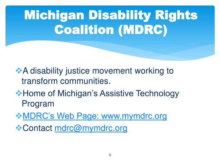 Michigan disability rights coalition mdrc