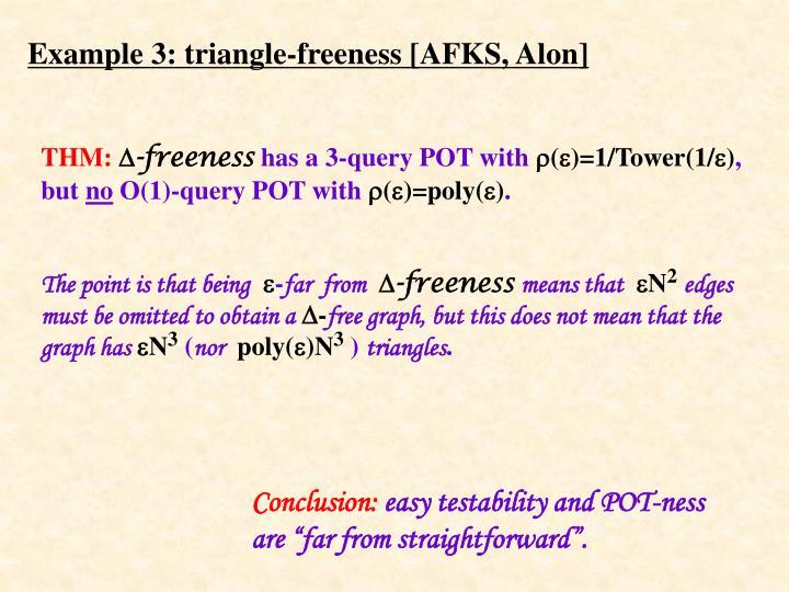 Example 3: triangle-freeness [AFKS, Alon]
