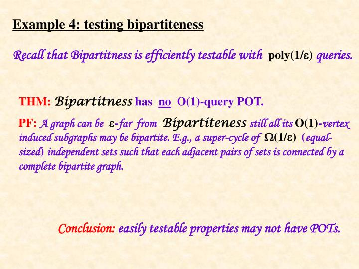 Example 4: testing bipartiteness