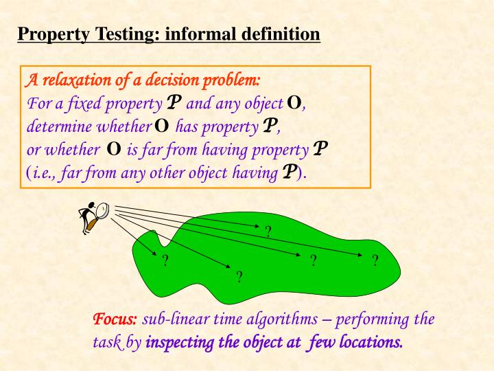 Property testing informal definition