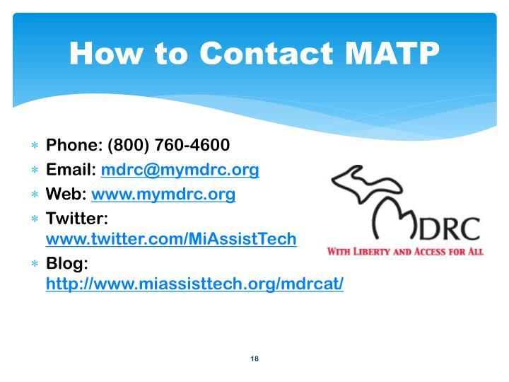 How to Contact MATP
