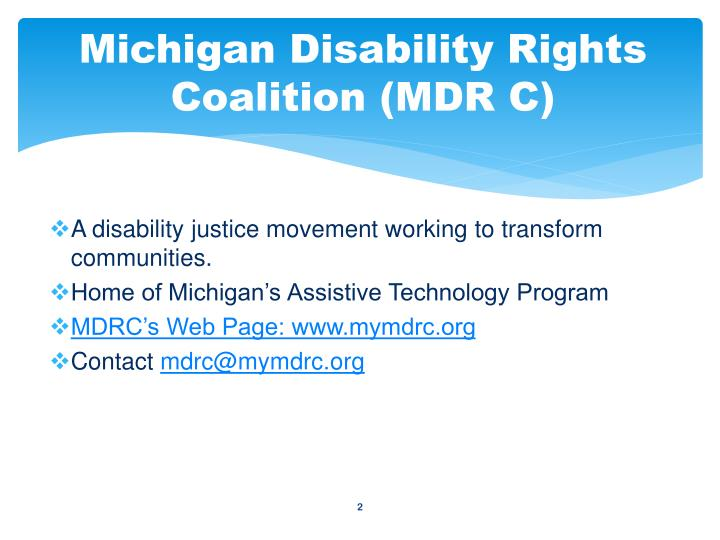 Michigan disability rights coalition mdr c