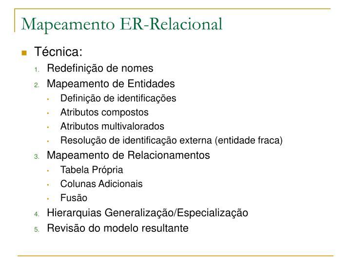 Mapeamento er relacional1