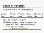scope of variables