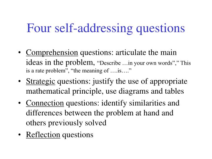 Four self-addressing questions