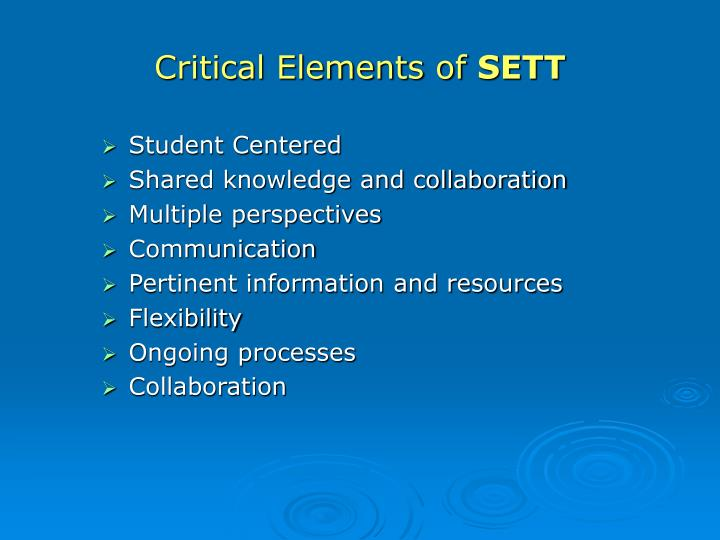 Critical Elements of