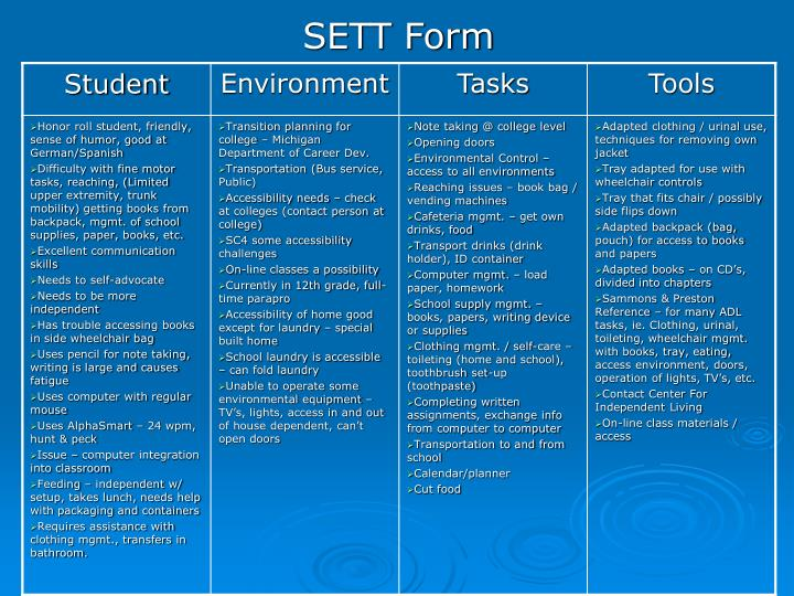 SETT Form