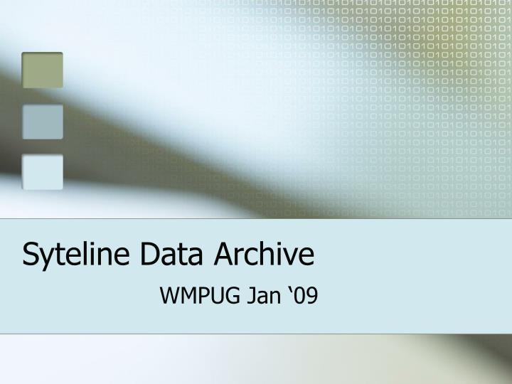 Syteline data archive