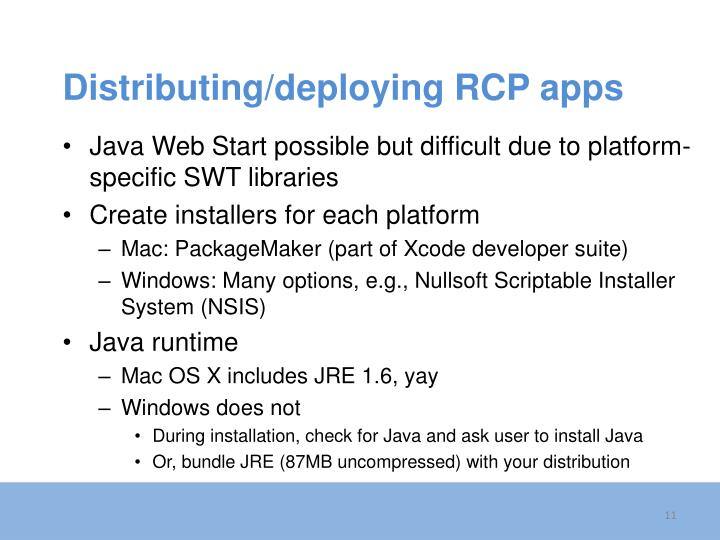 Distributing/deploying RCP apps