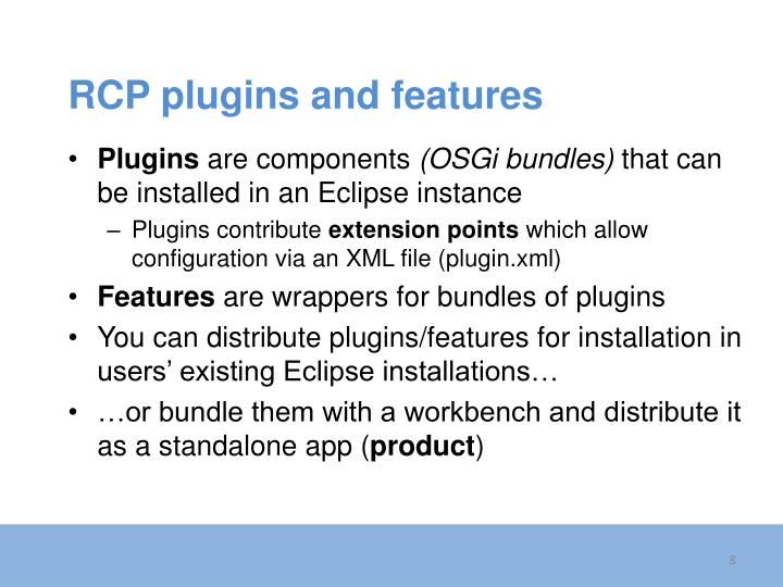 RCP plugins and features