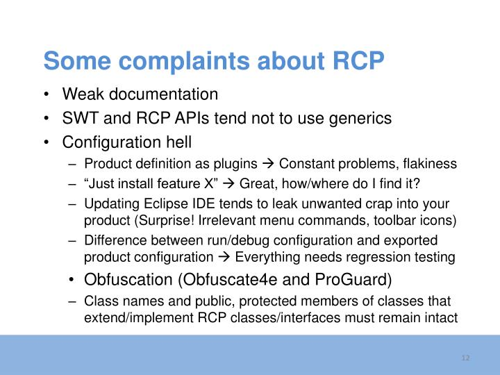 Some complaints about RCP