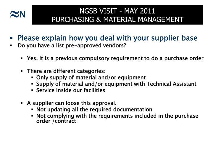 Ngsb visit may 2011 purchasing material management1