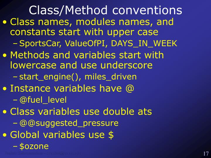 Class/Method conventions