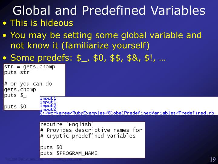 Global and Predefined Variables