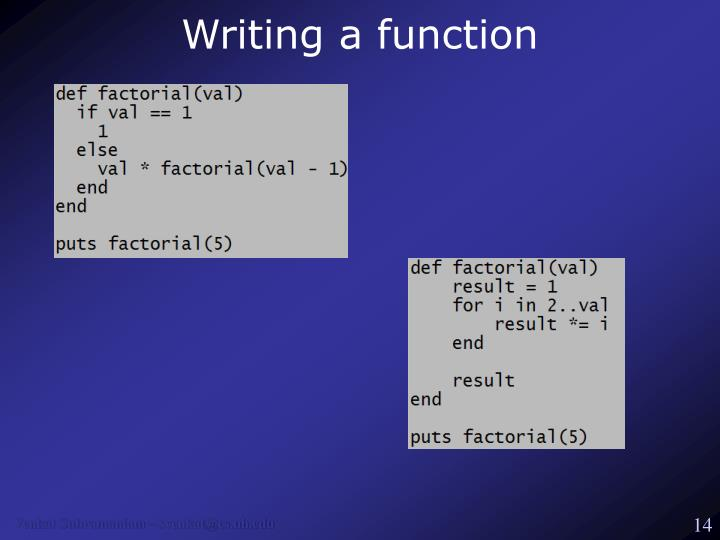 Writing a function