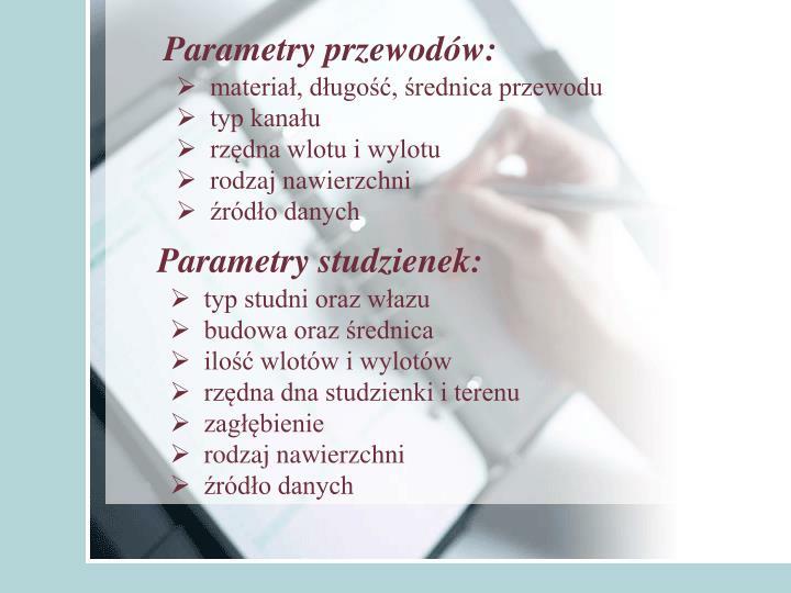 Parametry przewodów:
