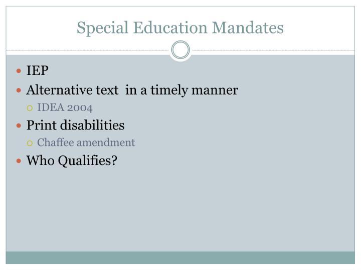 Special Education Mandates