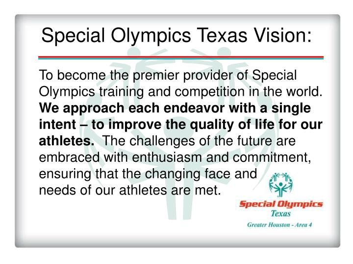 Special Olympics Texas Vision: