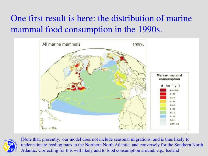 One first result is here: the distribution of marine mammal food consumption in the 1990s.