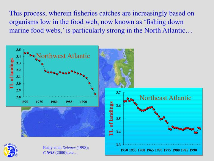 This process, wherein fisheries catches are increasingly based on organisms low in the food web, now known as 'fishing down marine food webs,' is particularly strong in the North Atlantic…