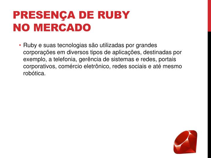 Presença de Ruby no mercado