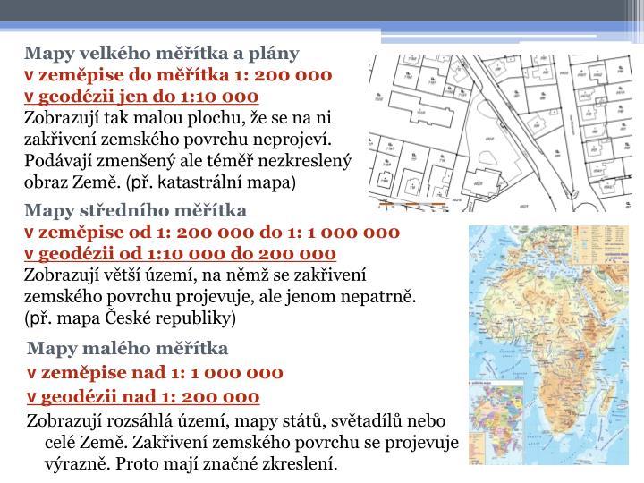 Mapy velkého měřítka a plány