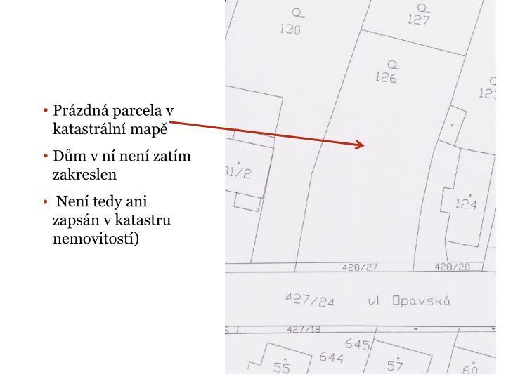 Prázdná parcela v katastrální mapě