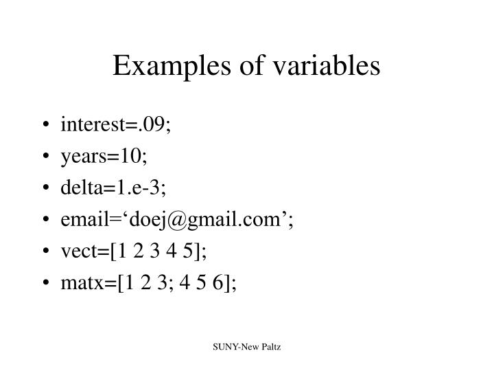 Examples of variables