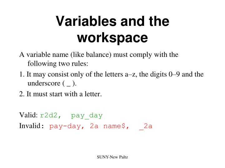 Variables and the workspace