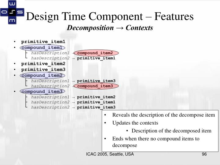 Design Time Component – Features