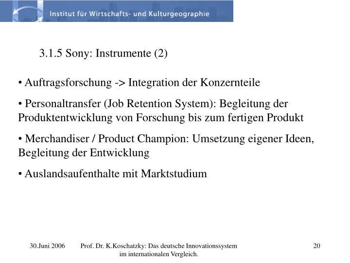 3.1.5 Sony: Instrumente (2)
