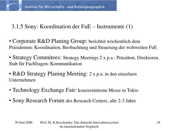 3.1.5 Sony: Koordination der FuE – Instrumente (1)