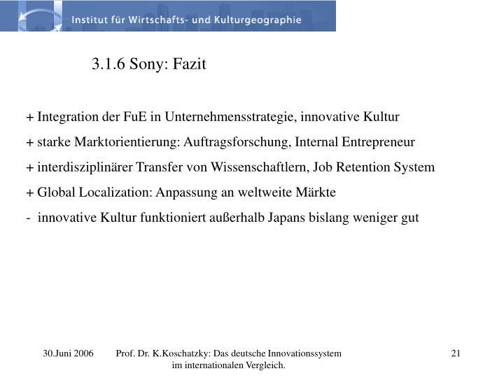 3.1.6 Sony: Fazit