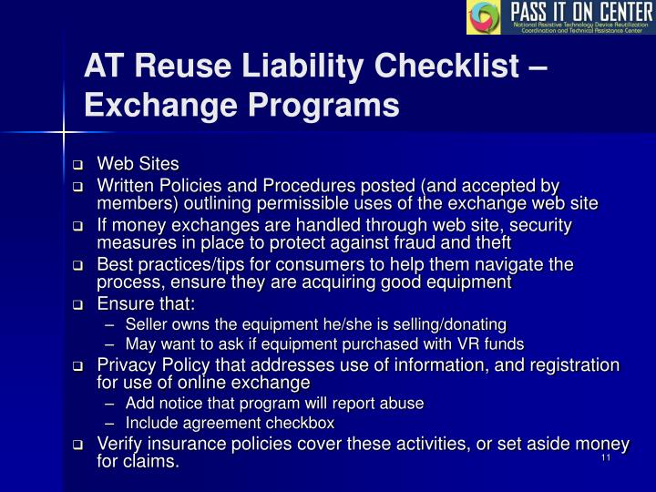 AT Reuse Liability Checklist –