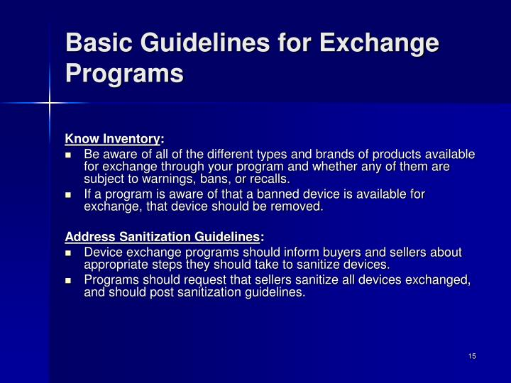 Basic Guidelines for Exchange Programs
