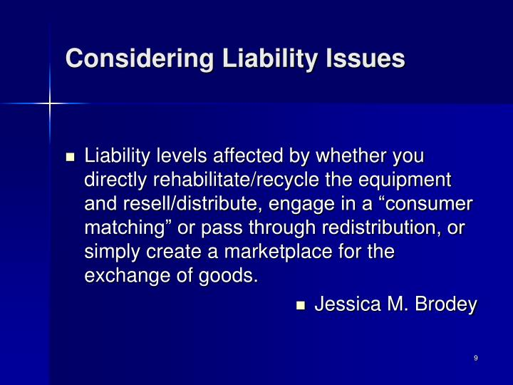 Considering Liability Issues